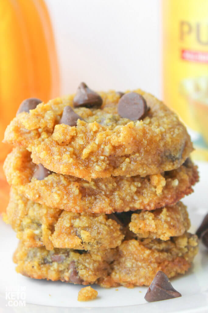 close up on stack of soft low carb pumpkin chocolate chip cookies