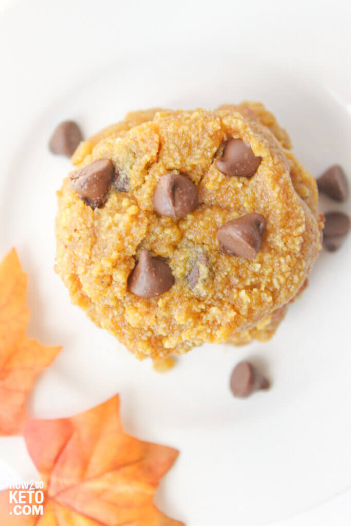 top-down view of sugar free pumpkin chocolate chip cookies