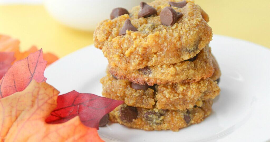 stack of keto pumpkin chocolate chip cookies with fall leaves
