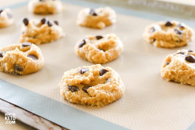 keto pumpkin chocolate chip cookies on baking sheet