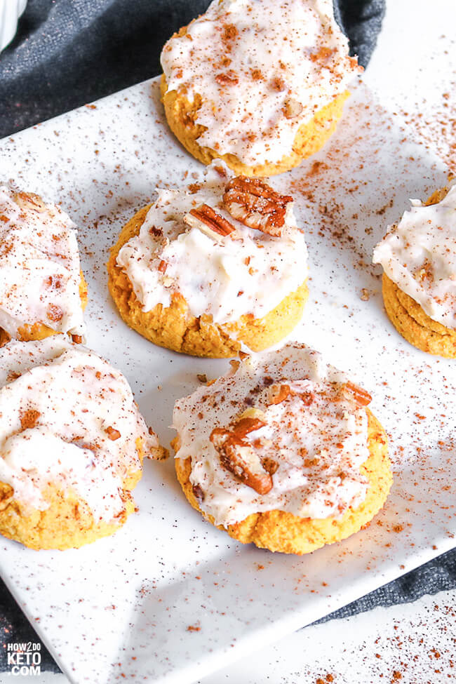 fluffy keto pumpkin cookies with cream cheese frosting and cinnamon