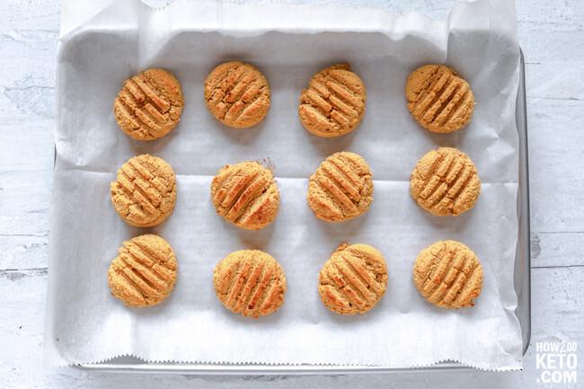 pumpkin cookies on baking sheet, browned on top
