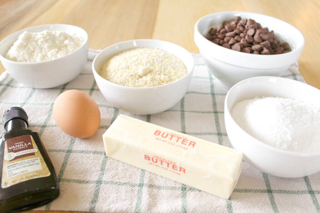 ingredients to make a keto chocolate chip cookie skillet