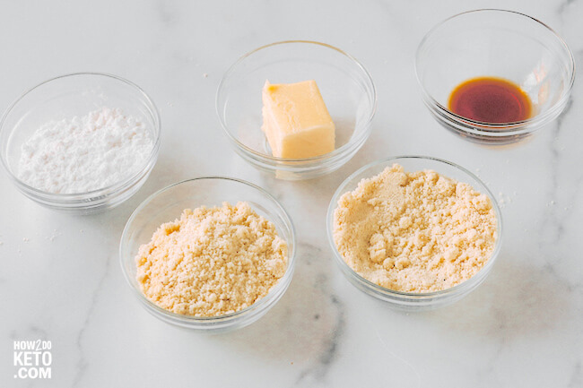 ingredients needed to make low carb butter cookies with almond flour