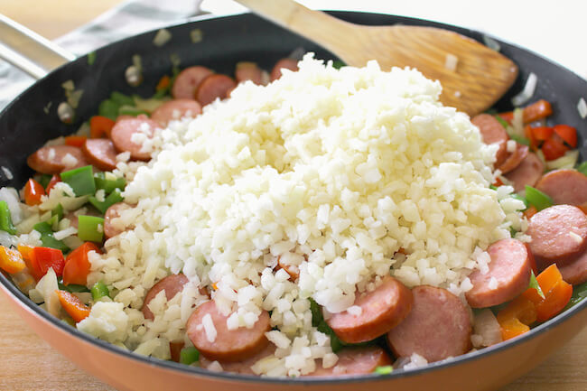 making keto dirty rice in pan