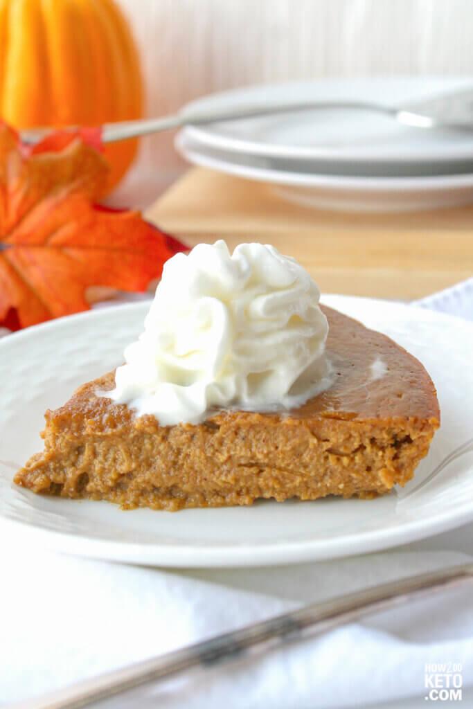 slice of low carb crustless pumpkin pie on plate
