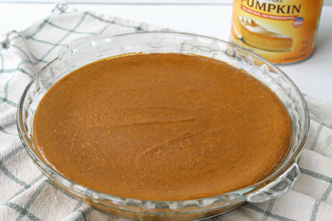 crustless pumpkin pie fresh out of the oven