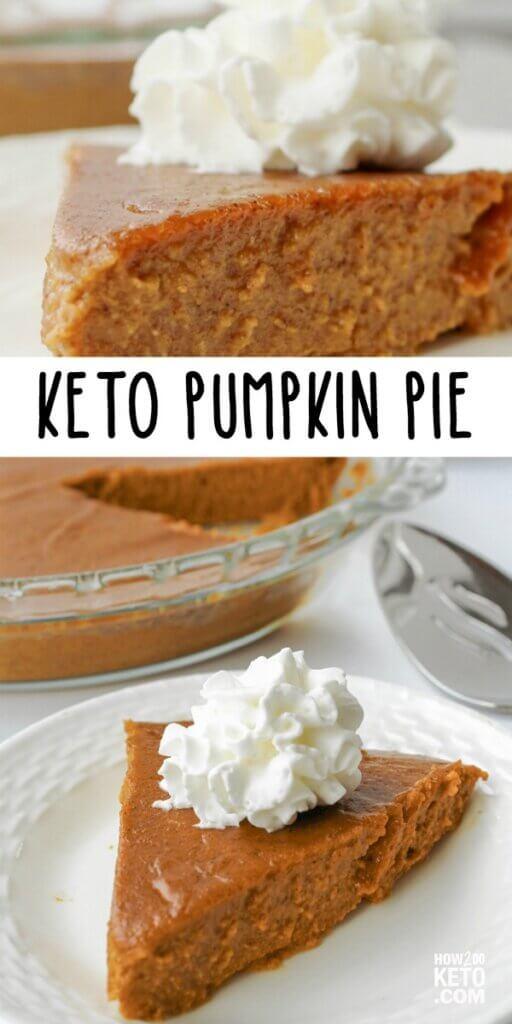 keto friendly pumpkin pie with whipped cream