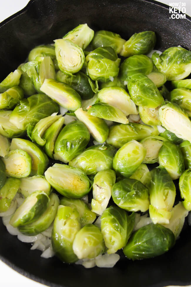 brussel sprouts halves in cast iron skillet