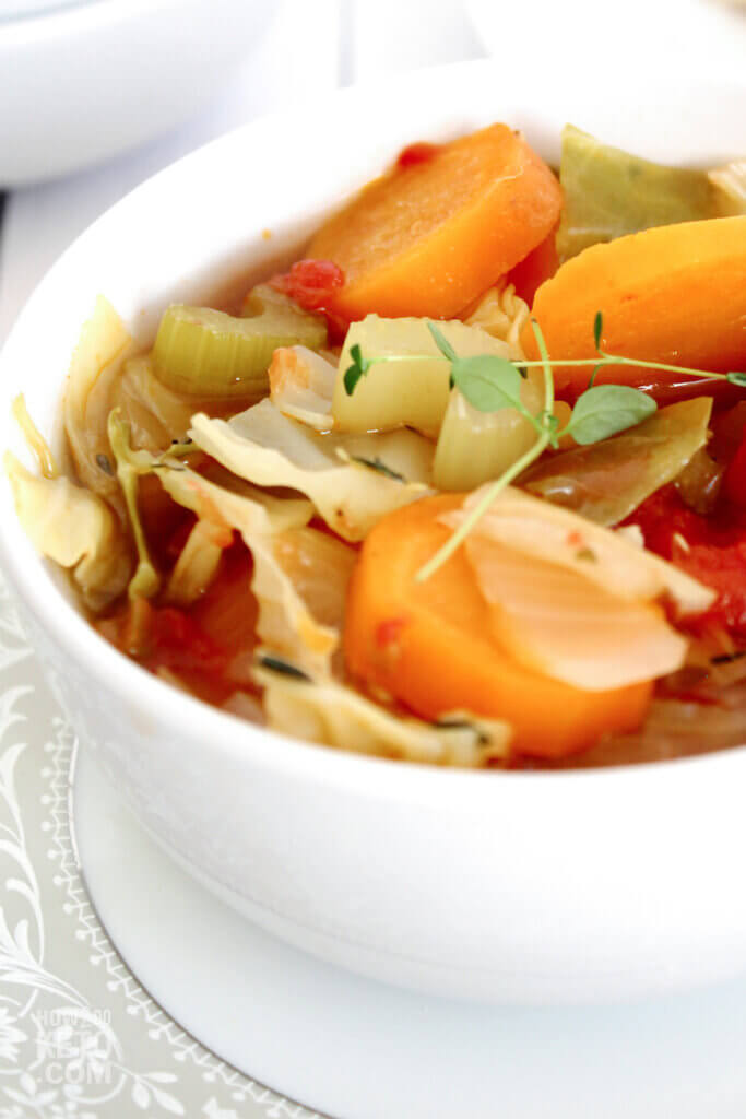 low carb cabbage soup in white bowl