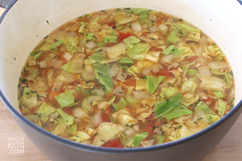 cabbage soup in stock pot