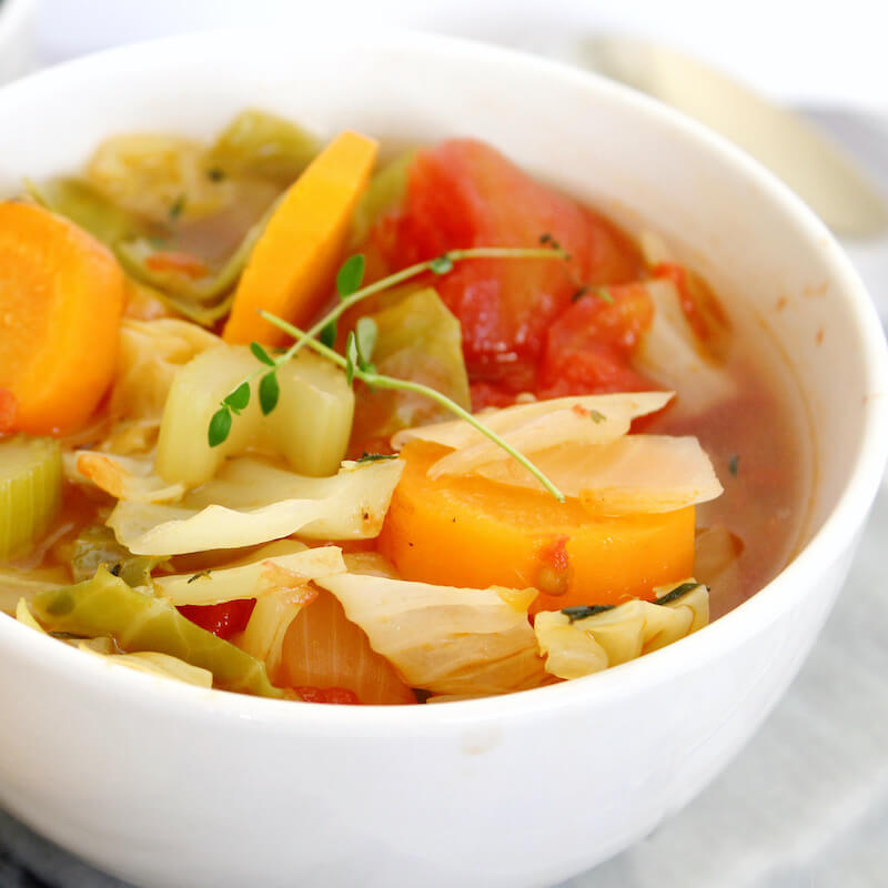 keto cabbage soup in white bowl