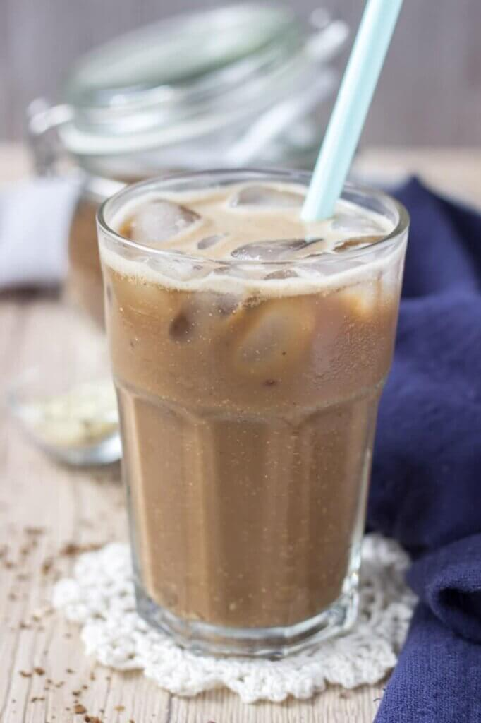 tall glass with iced coffee