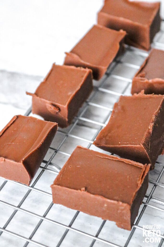 keto fudge squares on wire rack