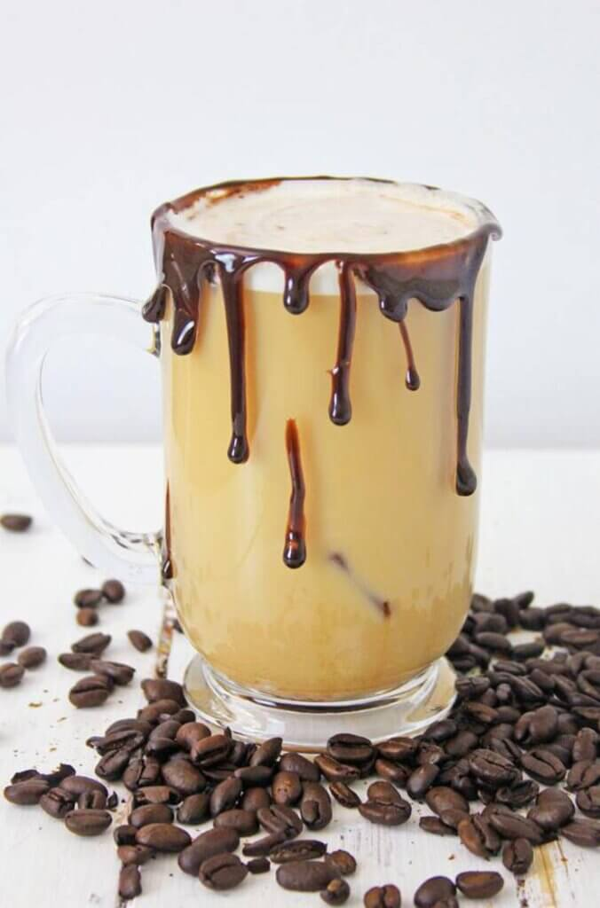 keto mocha with chocolate dripping down glass