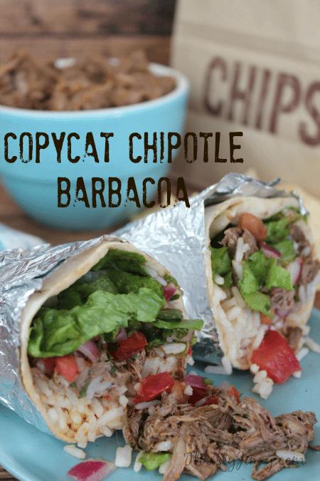 homemade burrito with copycat Chipotle barbacoa