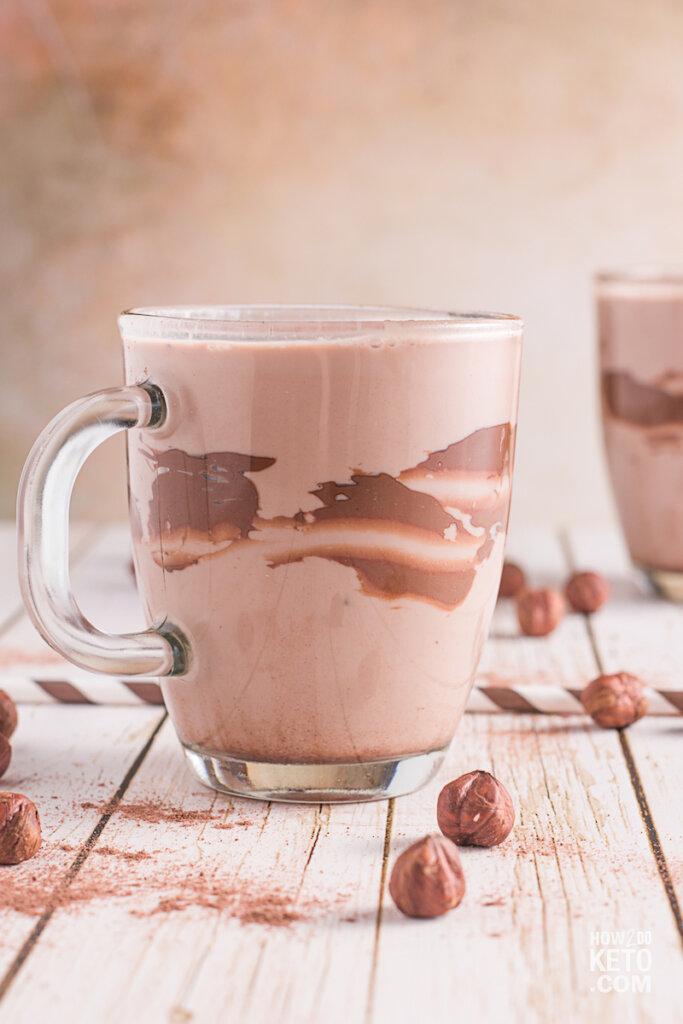 chocolate shake in mug with chocolate swirl