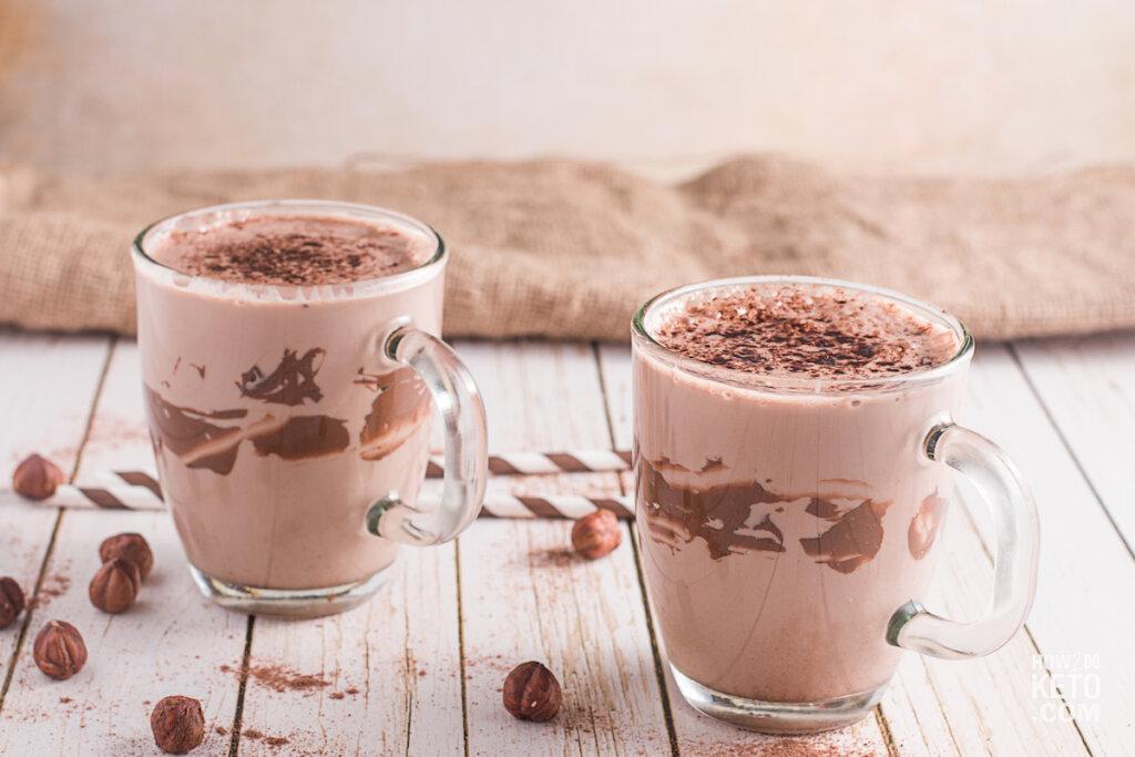 chocolate shake in glass mugs