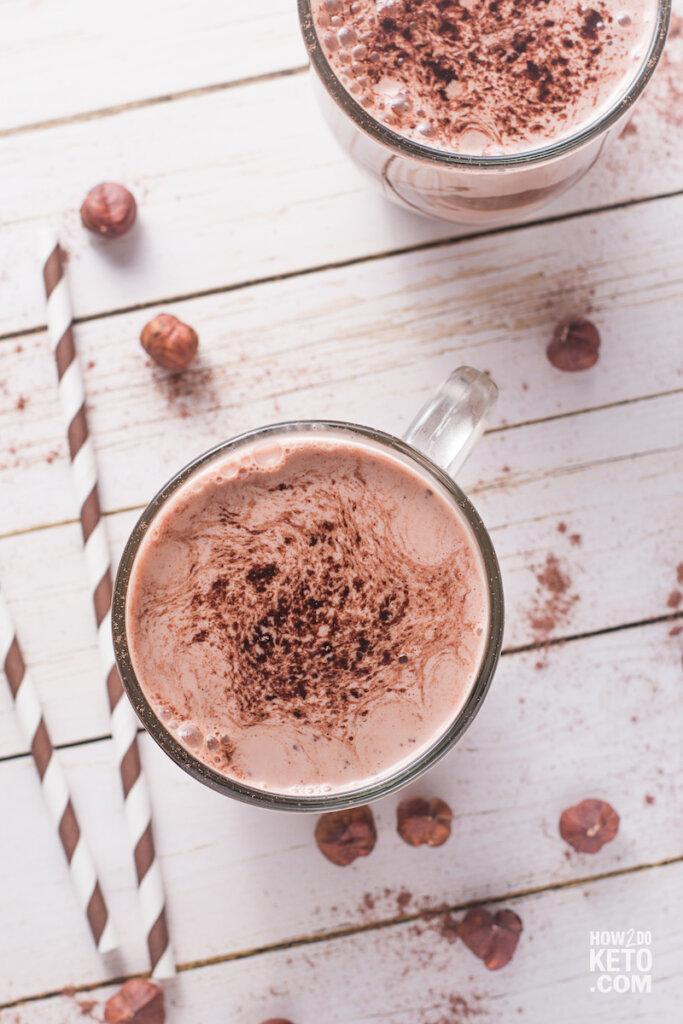 top down view of a chocolate Nutella milkshake