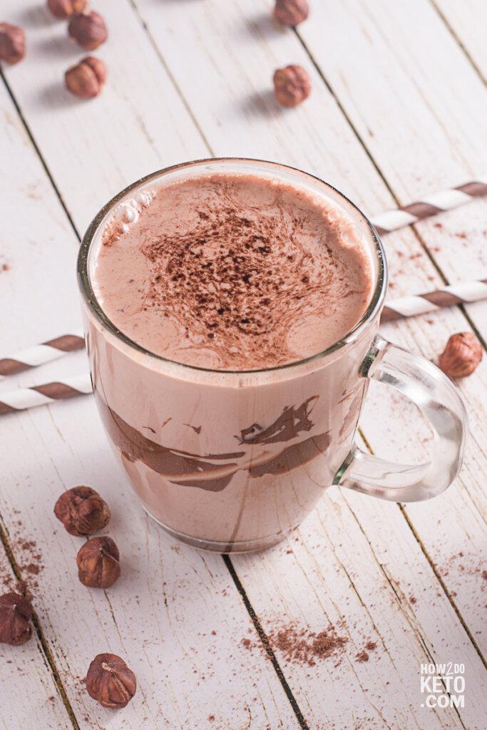 glass mug with chocolate milkshake made with keto nutella