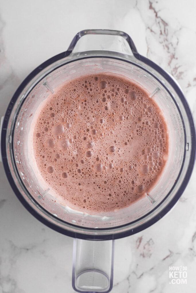 chocolate keto nutella milkshake in blender