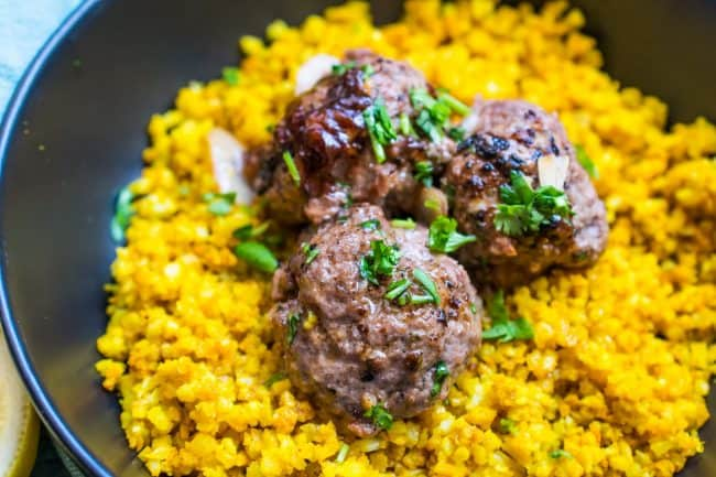 meatballs over cauliflower rice