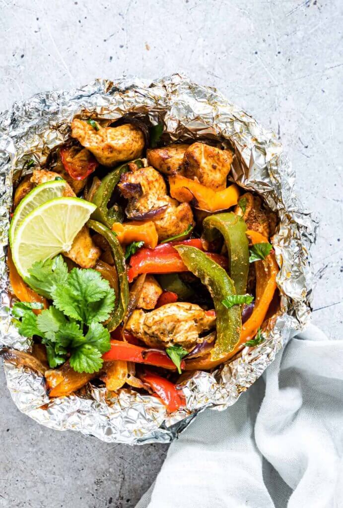 Keto Mexican recipes - chicken and peppers cooked in foil