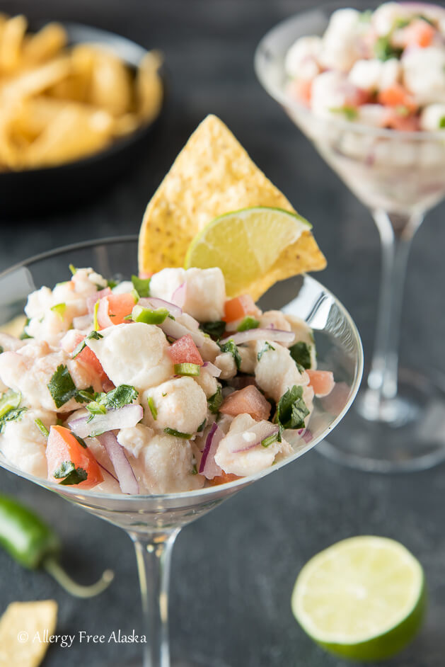 ceviche made with white fish in a martini glass