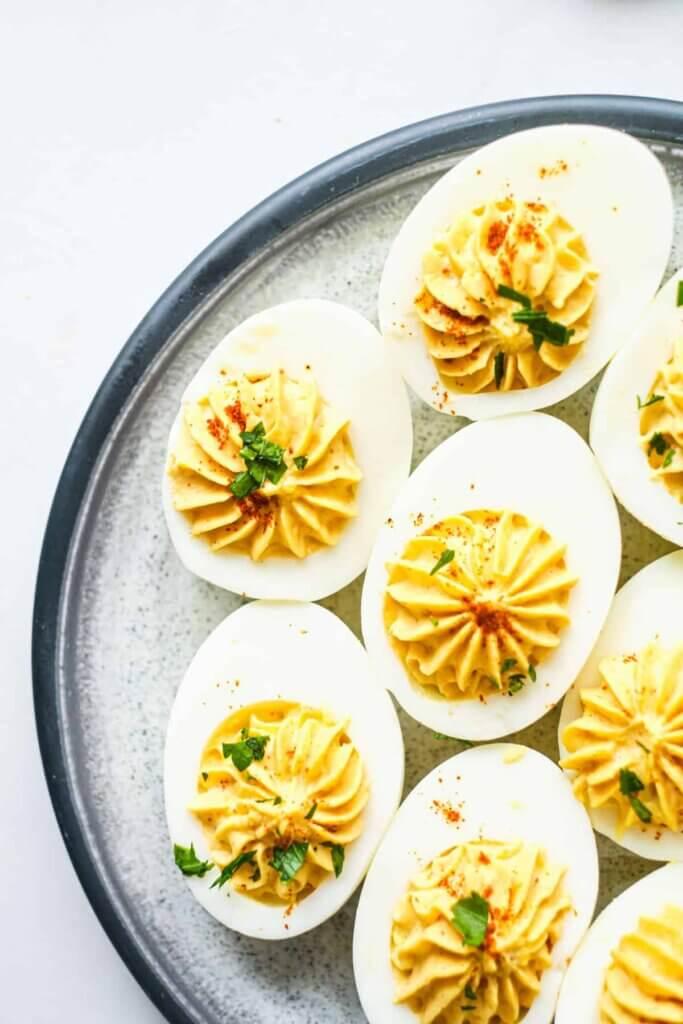 deviled eggs on serving platter