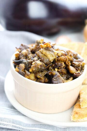 Greek eggplant dip in serving dish