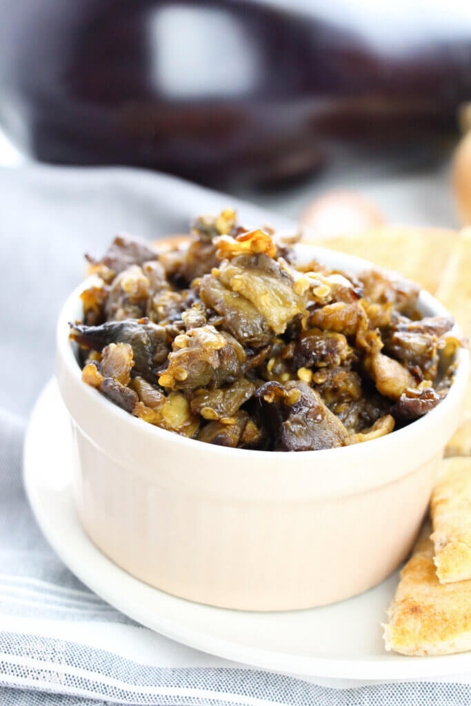 bowl of thick and chunky Greek eggplant dip