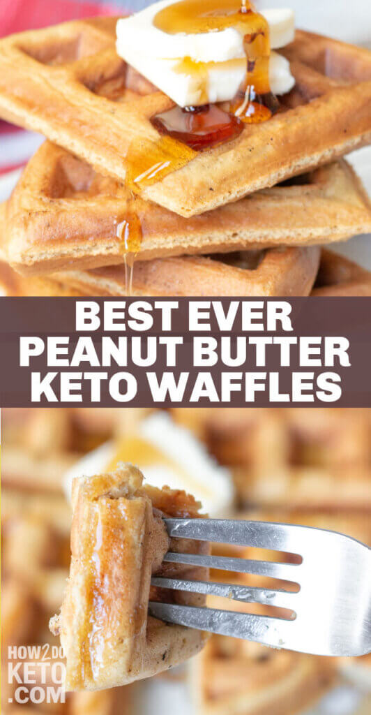 keto peanut butter wafflers in stack and on fork