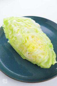 wedge of iceberg lettuce on plate