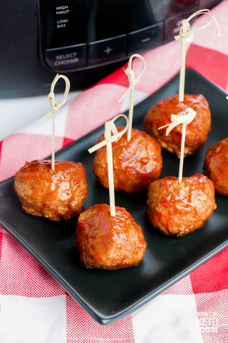 keto bbq meatballs on plate with toothpicks