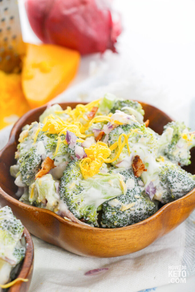 homemade broccoli salad in wooden bowl