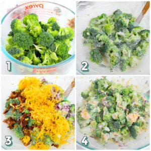 step by step photo collage showing how to make broccoli salad