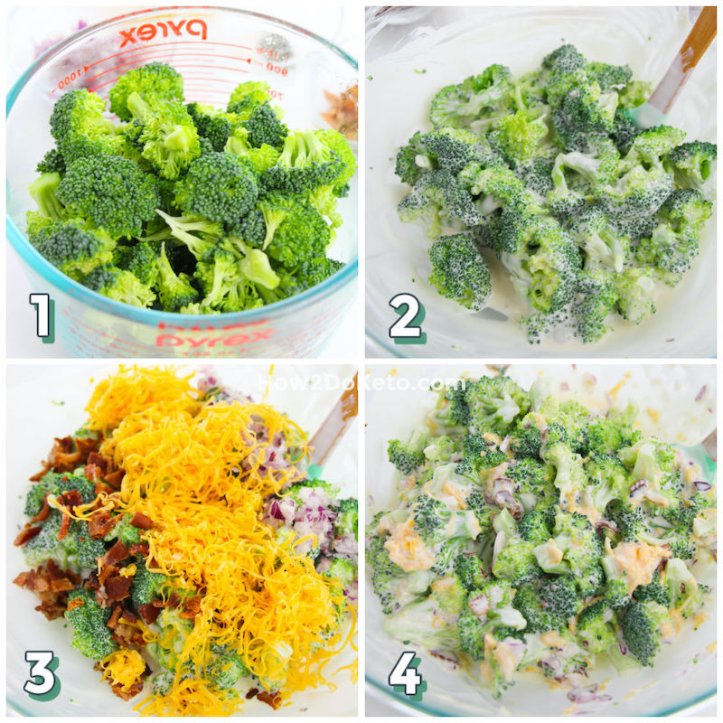 photo step by step collage showing how to make broccoli salad keto