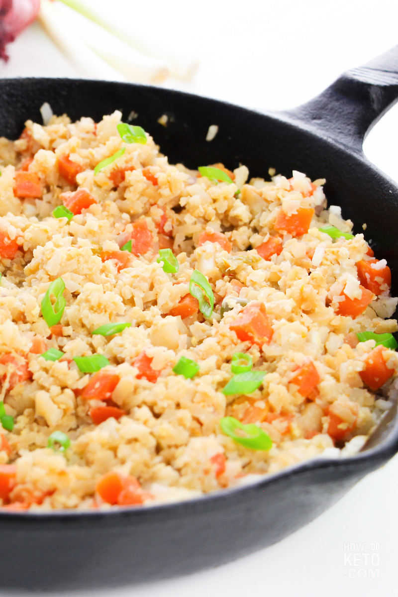 Cauliflower Fried Rice in a cast iron skillet