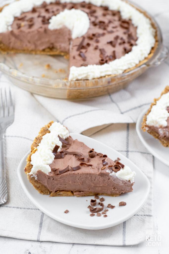 slice of chocolate pie with almond flour crust