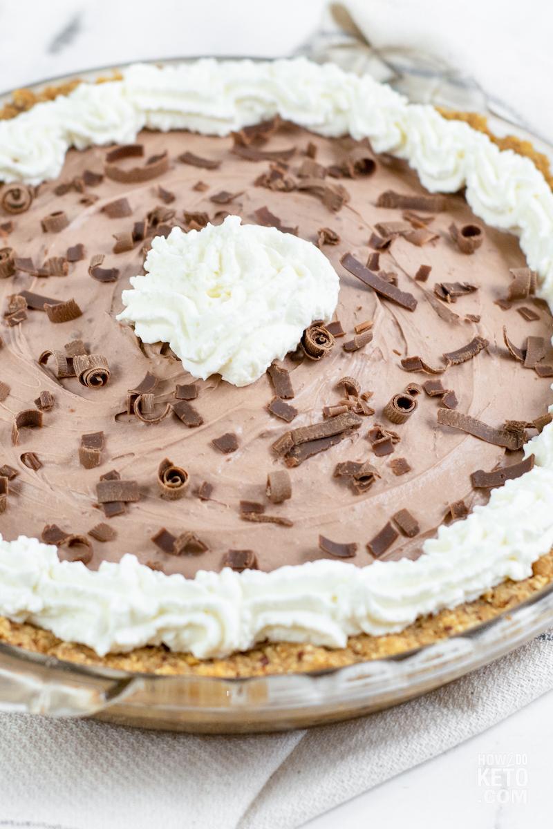 keto chocolate silk pie with sugar free whipped cream