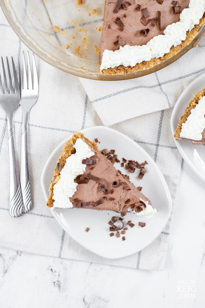 sugar free chocolate pie on plate