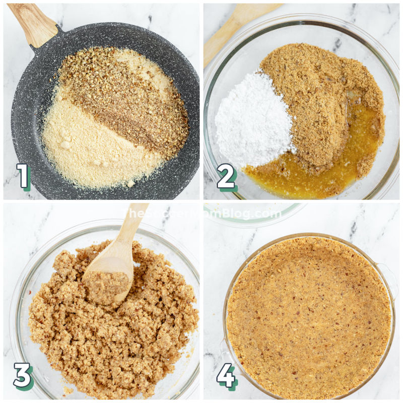 step by step photo collage showing how to make almond flour pie crust