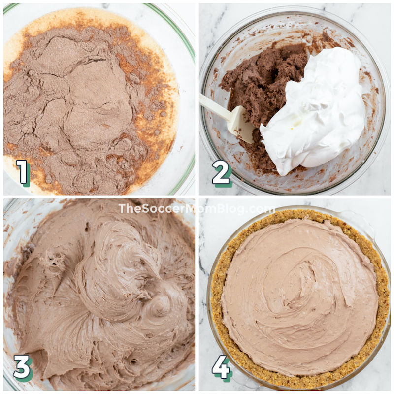step by step photo collage showing how to make keto chocolate pie filling