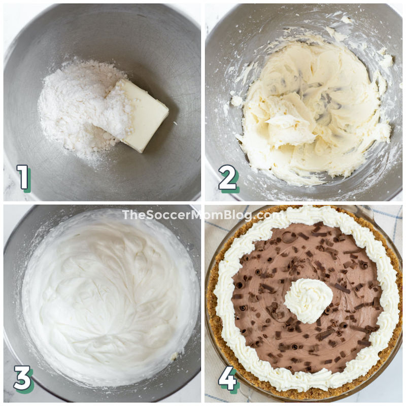 step by step photo collage showing how to make homemade whipped cream