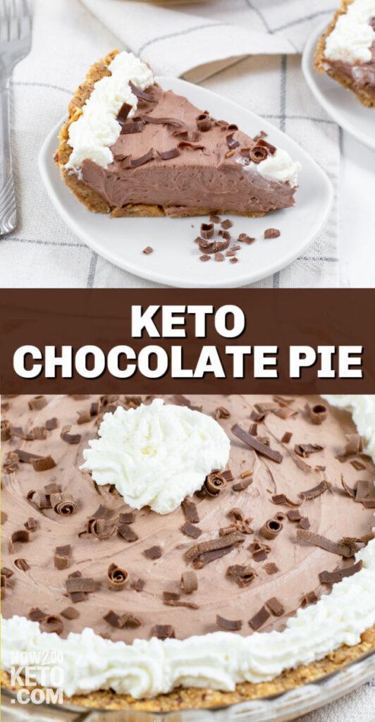 keto chocolate pie - slice and whole pie