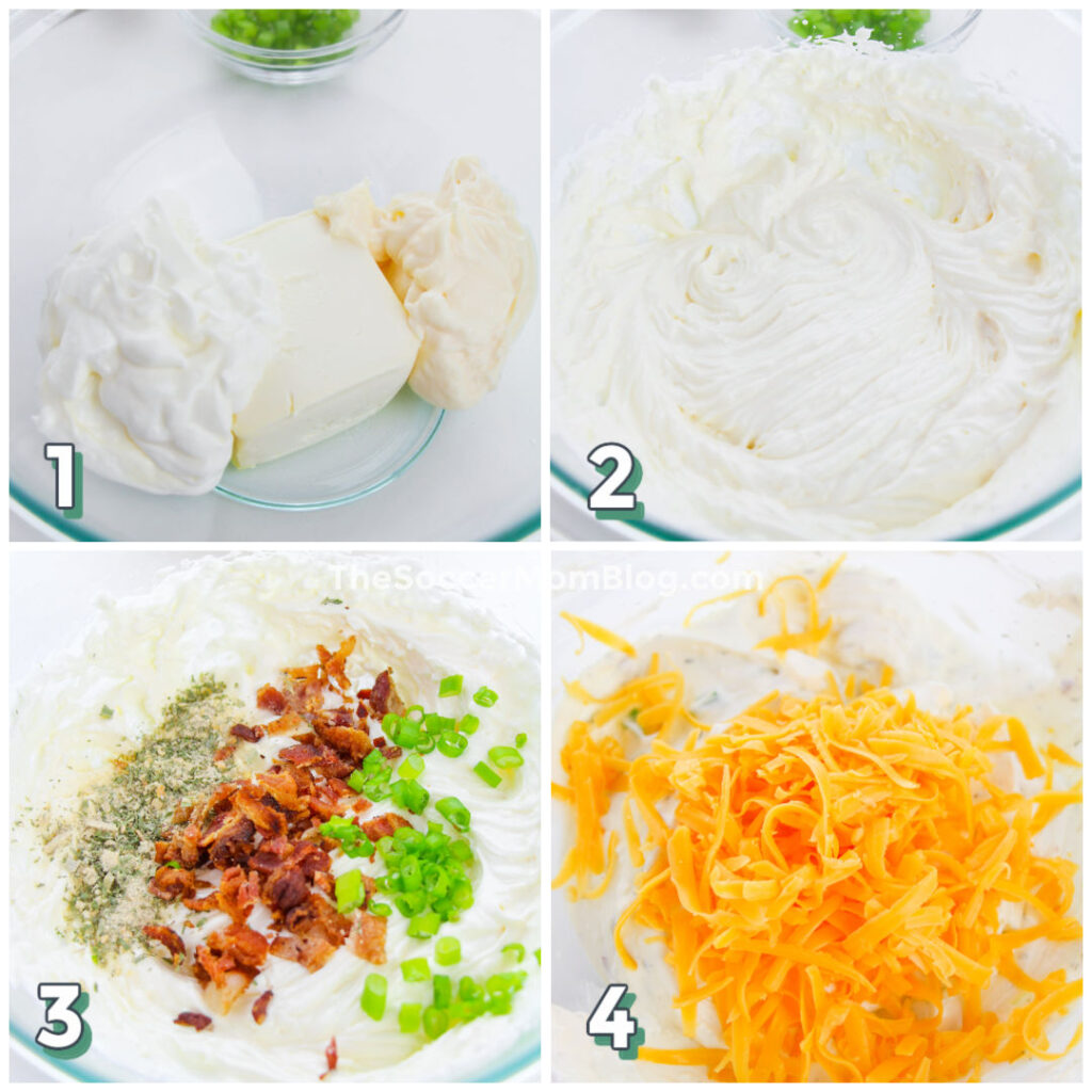 step by step photo collage showing how to make keto crack dip with cream cheese, bacon, and green onion