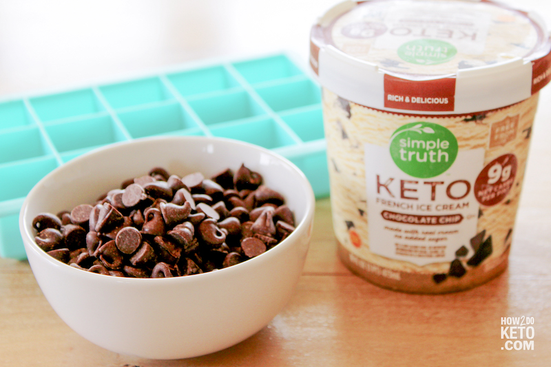 keto ice cream pint and chocolate chips in bowl