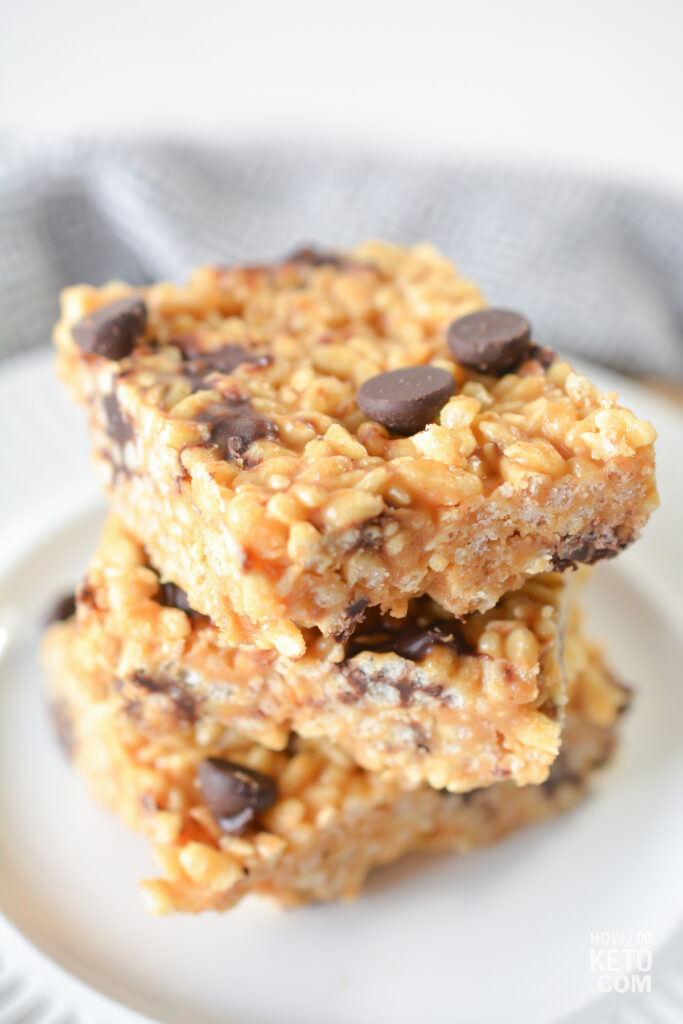 stack of keto peanut butter rice krispie treats with chocolate chips