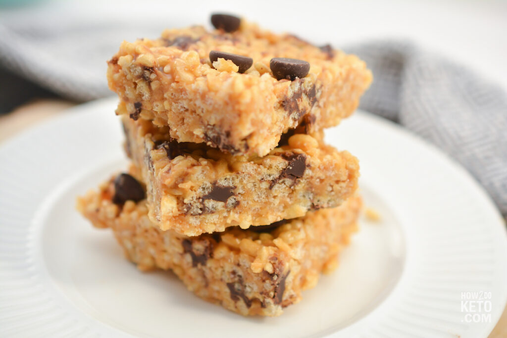 stack of peanut butter keto rice krispie treats