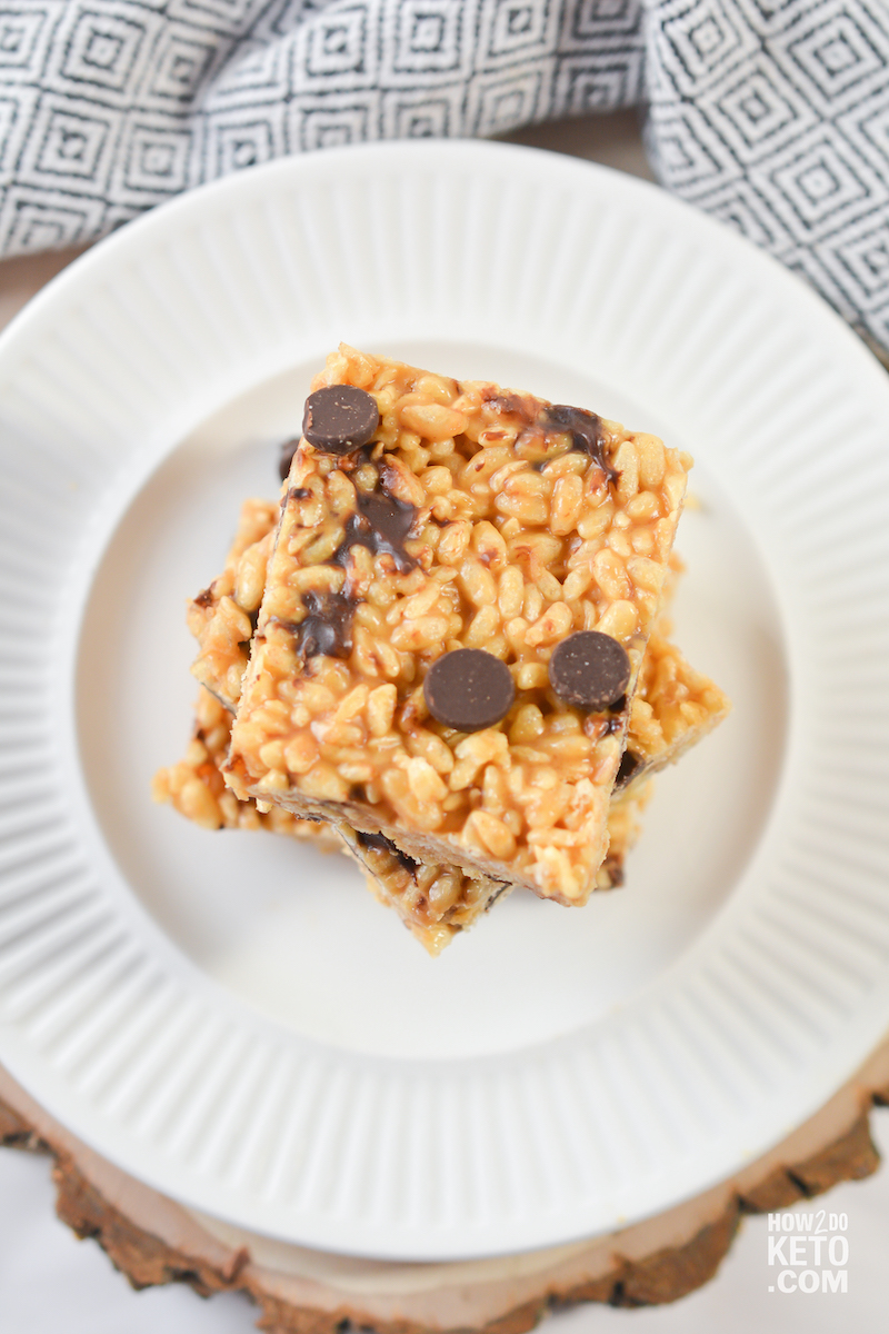 plate of low carb rice krispie treats with chocolate chips